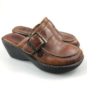 Born Womens Cloister Brown Slip On Heel Sandal 6
